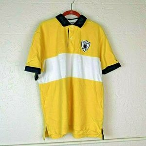 Tommy Hilfiger Polo Shirt Mens XL Yellow White
